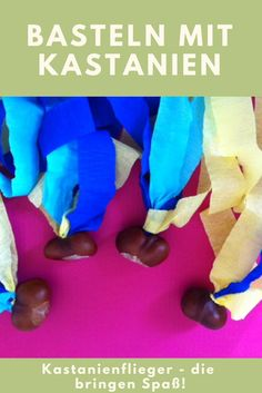 Basteln mit Kastanien: Diese Kastanienflieger lassen sich ganz schnell nachbaste… Crafting with chestnuts: These chestnuts can be tinkered very quickly. A light DIY and crafting idea for children in autumn. And you can even play with it. Kindergarten Art Projects, Craft Projects For Kids, Fun Crafts For Kids, Preschool Crafts, Diy For Kids, Craft Ideas, Cute Diy Crafts, Diy Arts And Crafts, Fall Crafts