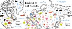 """""""46 Cookie Recipes From All Over the World"""" has a cookie map of the world. Each cookie has a link to a recipe. From the Tangerine Pies of Singapore to the Chocolate Pepper Cookies of South Africa, these look yummy.https://food52.com/p/cookies-of-the-world"""