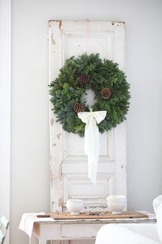 """This was Labeled """"French Cottage Christmas"""". No wreaths hung from doors. You could sneeze and miss Christmas there. Cottage Christmas, Christmas Post, Country Christmas, Simple Christmas, All Things Christmas, Winter Christmas, Christmas Wreaths, Christmas Decorations, Xmas"""