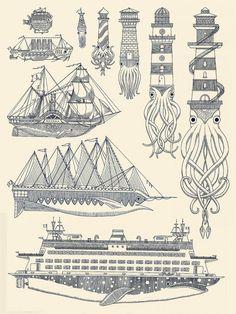 tattoo lighthouse squid - Google zoeken