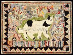 Hooked Rug, Cat and Flowers within Saw Tooth Border, Folk Art American, Anonymous Circa 1930