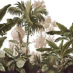 Paysages sépia. - Voyage à Cochin L400xH260 cm - Ultra mat - 4 lés de 100 cm