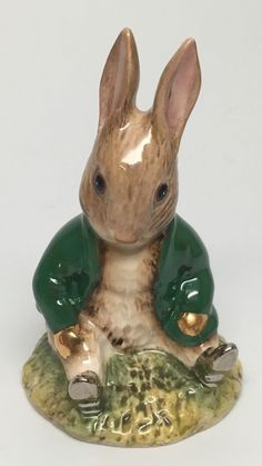 "Green Jacket Royal Albert Beatrix Potter's ""Benjamin Bunny SAT on A Bank 2803 1 | eBay"