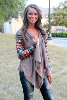 Aztec Sleeve Cardigan- Out of Stock - The Pink Lily Boutique