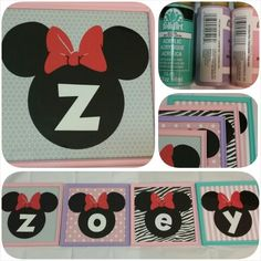 Name frame project Minnie Mouse theme • Patina • light lavender • baby pink • Cricut: Mickey Font