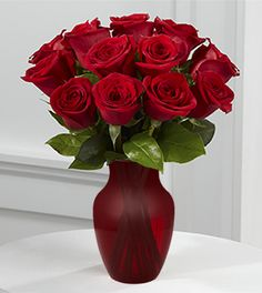 True Love Valentine Rose Bouquet - 12 Stems - Red Vase Included