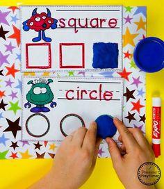 Preschool Shapes Activity Cards - Monster theme #backtoschool #monstertheme #preschool #planningplaytime