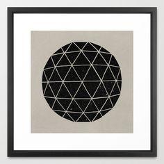"""Geodesic Framed Art Print - vector black 22""""x22"""""""