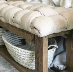 Furniture Makeover, Diy Furniture, Do It Yourself Furniture, Small Stool, Ikea Curtains, Bench Cushions, Diy Cushion Bench, Box Cushion, Upholstery Foam