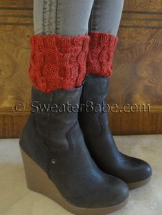 PDF Knitting Pattern for Easy Cabled One-Ball Boot Cuffs from SweaterBabe.com