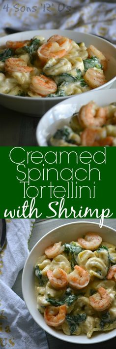 Creamed Spinach Tortellini with Seasoned Shrimp - 4 Sons 'R' Us