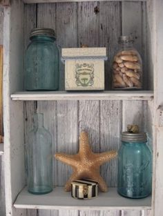 Beach Bathroom---need tp fill jars with sand & label them from where they came.