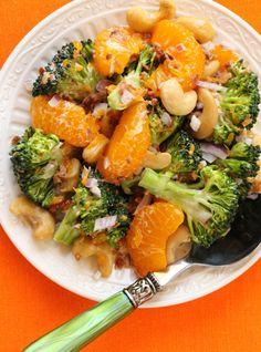 I had this a few weeks ago ...was not sure...OMG delish!!! Broccoli Bacon and Mandarin Orange Salad