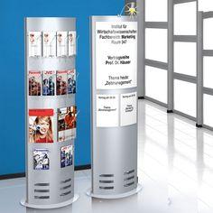 Infosäule medium, 165 x 60cm für DIN A4 Formate, DIN A5 und DIN-lang (Faltprospekte).