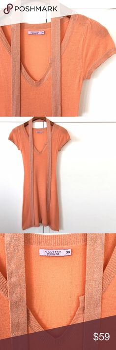 "Calypso Cashmere Tunic Beautiful soft tunic from luxury brand, Calypso St. Barth. 34"" long. Apricot with hints of shimmers. It comes with a belt. Worn a couple times only. It's been dry cleaned and ready to ship. 100% cashmere. Dry clean only.  ❤️10% bundle discount. Free beauty gift with $25 purchase. Free shipping with $75 purchase. No trades. Calypso St. Barth Tops Tunics"