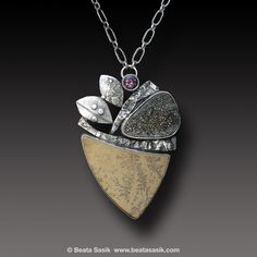 DENDRITE LIMESTONE Necklace Sterling Silver Rainbow Pyrite Druzy | Beata Sasik
