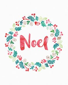 Free Christmas Printable Noel Wreath | Click through to sign up before you miss any more of my monthly, member's only freebies.