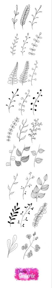 Doodle floral elements for lettering or zentangle inspired art - floral pattems Diy Tattoo, Wand Tattoo, Tattoo Fonts, Tattoo Ideas, Etsy Embroidery, Embroidery Letters, Embroidery Flowers Pattern, Zentangle, Flower Henna