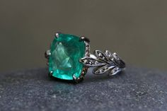 Cathy Waterman ♛ Recycled Platinum Leaf Side Ring Set with Emerald and Ethically Sourced Diamonds