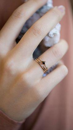 Jennie Kwon Designs Diamond Equilibrium Point Ring, Black Semi Pave Ring, & Black Equilibrium Cuff Ring