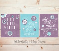 Let Her Sleep She will Move Mountains Purple Teal Nursery Decor Floral Wall Art Baby Girl Nursery Inspirational Quote Nursery Trio Purple Teal Nursery, Purple Baby Rooms, Baby Room Decor, Nursery Decor, Nursery Art, Nursery Prints, Bedroom Art, Baby Bedroom, Girl Room Quotes