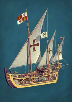 Domestika is the largest community for creative professionals. Model Sailing Ships, Old Sailing Ships, Model Ships, Illustration Studio, Wooden Model Boats, Pirate Boats, Templer, Naval History, Black Sails