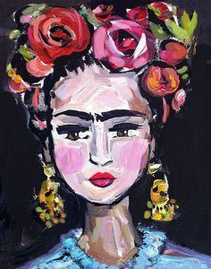 Impresión de Frida Kahlo rosas bonita retrato impresión
