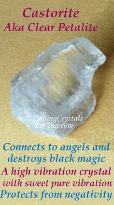 Petalite is a high crystal energy stone. It connects you to angels, destroys black magic & other unwelcome forces. It has a pure sweet vibration that creates a deep connection to the spiritual realm. Healing Crystals For You, Meditation Crystals, Crystal Healing Stones, Chakra Crystals, Crystals Minerals, Crystals And Gemstones, Stones And Crystals, Chakra Stones, Crystal Identification