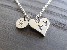 Baby footprint necklace  New Mom Jewelry Gift for new mom mother to be  Heart necklace Initial Necklace Silver Necklace Personalized Jewelry by MyTinyStarShining on Etsy https://www.etsy.com/listing/279189356/baby-footprint-necklace-new-mom-jewelry