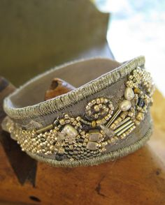 Silver Fabric Collage Cuff Bracelet by PasticheStudio on Etsy, $140.00