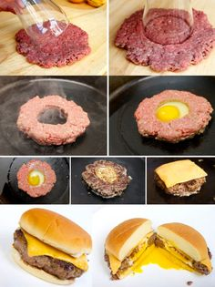 Funny pictures about 21 Food Hacks That'll Make You Run For The Kitchen. Oh, and cool pics about 21 Food Hacks That'll Make You Run For The Kitchen. Also, 21 Food Hacks That'll Make You Run For The Kitchen photos. Egg Burger, Cheese Burger, Burger Food, Cooking Burgers, Burger Mix, Good Food, Yummy Food, Awesome Food, Awesome Things