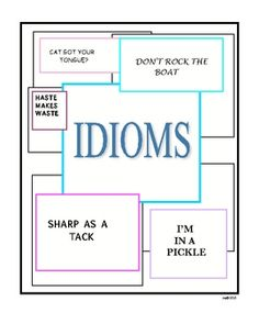 One of my best sellers!Teaching idioms is fun! These cut out idiom cards can be used for a variety of activities. A written activity requires the...