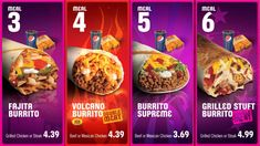 Taco Bell: full Movement on Digital Menu board Sample Video The different categories separated by bright colors looks nice . Menu Board Design, Food Menu Design, Food Poster Design, Restaurant Menu Design, Menu Digital, Digital Menu Boards, Taco Bells, Classic Burger Menu, Popeyes Menu
