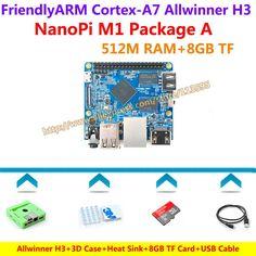 Allwinner H3 Quad-core Cortex-A7 NanoPi M1 Demo Board (512MB RAM)+3D Case+Heat Sink+USB Cable+8GB TF Card=NanoPi M1 Package A
