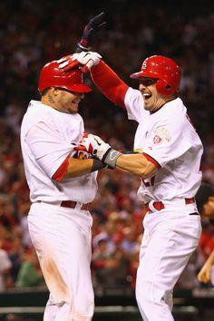 Yadier Molina  and Tyler Greene  Celebrate Greene's Game-winning Tow-run Home Run 5-21-12