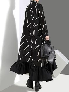 Modern Funk is the favorite for cool girls never willing to be a Lolita or little princess dressed in laces and bowknots Midi Shirt Dress, Black Midi Dress, Collar Dress, Abaya Fashion, Modest Fashion, Fashion Dresses, Daytime Dresses, Casual Dresses, Iranian Women Fashion