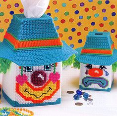 Leisure Arts - Expressive Clowns Plastic Canvas Patterns ePattern, $2.99 (http://www.leisurearts.com/products/expressive-clowns-plastic-canvas-patterns-digital-download.html)