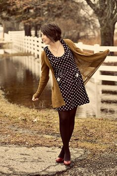Red shoes + black tights + polka dot dress + slouchy sweater