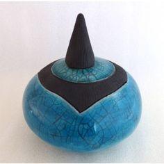 Boîte à soucis en céramique raku, turquoise