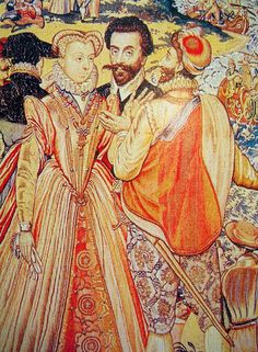 Marguerite de Valois with her brothers from the Valois Tapestries,c.1580