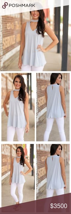 """⚡️SALE⚡️Dusty Blue Sleeveless Choker Tunic This super cute dusty blue tunic is super soft and cute for casual looks. Made of 75% modal & 25% polyester. Don't miss out on adding this amazing top to your wardrobe! Like this listing to be notified of price drop when it arrives! Measurements: S - Bust 19"""", Length 28""""; M - Bust 20"""", Length 29""""; L - Bust 21"""", Length 30""""🌟PRICE FIRM UNLESS BUNDLED🌟 Infinity Raine Tops Tunics"""