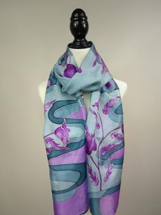 0f8e83f5f5b60 Approximately 14 X 72 inches 35cmX182cm Handmade, hand painted 100% habotai silk  scarf.