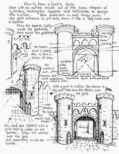 Draw a Castle Worksheet, free see the project notes at my blog: http://drawinglessonsfortheyoungartist.blogspot.com/2013/10/how-to-draw-castle-gate-worksheet.html