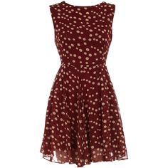 Burgundy polka dot 50's dress (115 RON) ❤ liked on Polyvore featuring dresses, vestidos, burgundy dress, circle skirt, flared skirt, red flared skirt and red zipper dress
