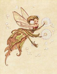 Midsummer Fairies Dandelion: Art Print by CaseyRobinArt on Etsy Magical Creatures, Fantasy Creatures, Art And Illustration, Botanical Illustration, Dandelion Art, Fairy Drawings, Ouvrages D'art, Flower Fairies, Fairy Art