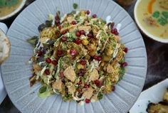 Have a taste of our cheeky chaat bowl composed of aloo channa chaat, fried sweet corn, lettuce, pomegranate, yogurt and tamarind. A combined treat perfect for sharing!