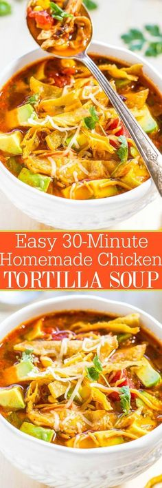 Easy 30-Minute Homemade Chicken Tortilla Soup Recipe via Averie Cooks - Chicken, tomatoes, corn, black beans, avocado, cheese, and addictively crunchy tortilla strips! Fast, easy weeknight meal, and better than from a restaurant!! - The BEST 30 Minute Meals Recipes - Easy, Quick and Delicious Family Friendly Lunch and Dinner Ideas