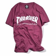 Thrasher Magazine Maroon Bruiser Red T-shirts Short Sleeve 2017 Fashion Hiphop Men/Boys SkateboardRs