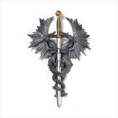 Pair Of Medieval Dragons Wall Plaque With Dagger Knife,List Price: $29.95   Price: $14.26