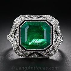Art Deco Style Emerald and Diamond Ring - 30-1-5332 - Lang Antiques